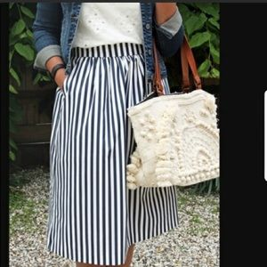 Zara Women Striped Midi Skirt